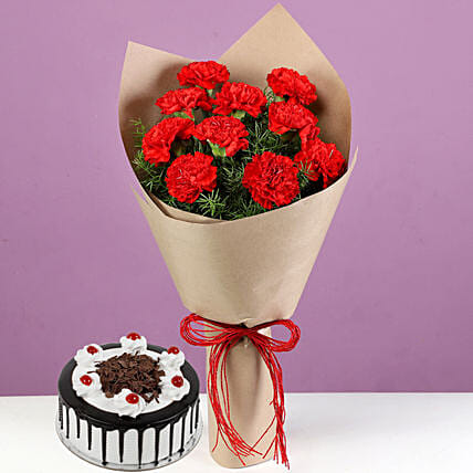 Exclusive Flower Bouquet and Cake Combo