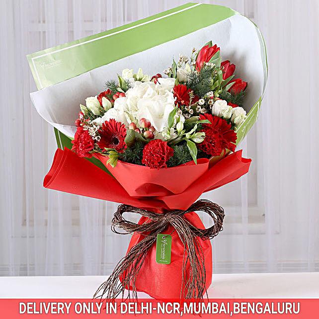 Red Carnations & Gerberas Romantic Bouquet
