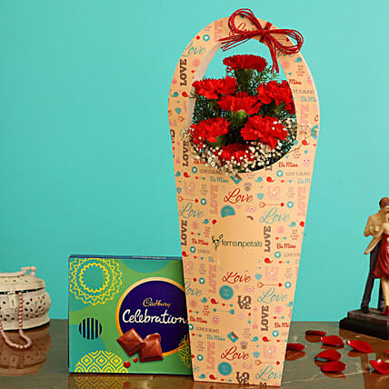 Red Carnations In FNP Love Sleeve and Cadbury Celebrations Box