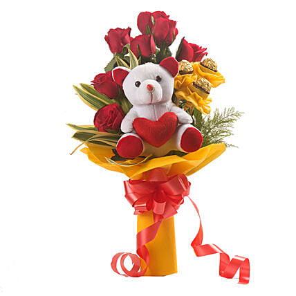 Bouquet of red roses with chocolates and:Soft Toys For Kiss Day
