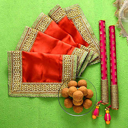 Red Chunri With Dandiya Sticks & Besan Laddoos