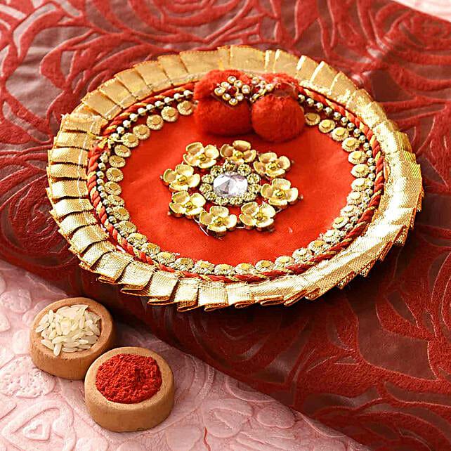 Red Gotta Work Bhaidooj Pooja Thali