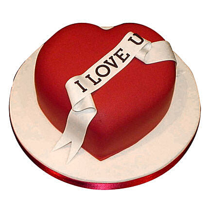 Red Heart Love You Cake 1kg:Eggless Cakes Ahmedabad