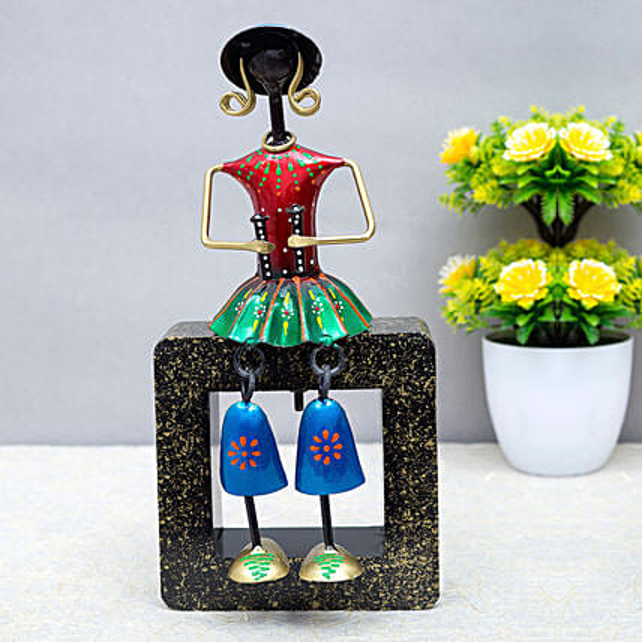 Red Metal Doll Playing Maracas Figurine