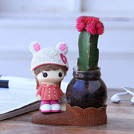 Red Moon Cactus Plant In White Pink Cap Girl Vase
