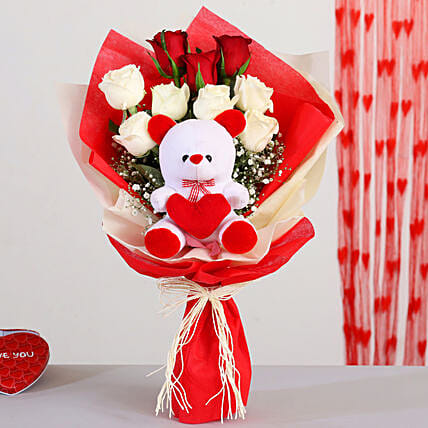 Red n White Roses Bouquet With Teddy Bear