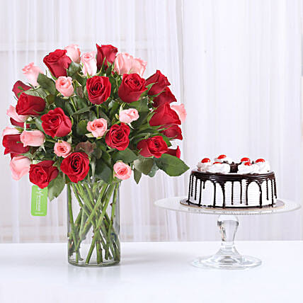 Mix Red n Pink roses with black forest cake:Flower Bouquet with Cake