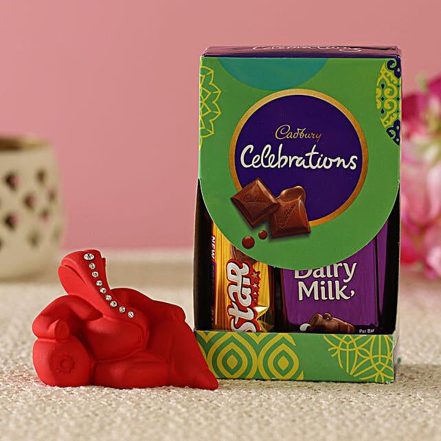 Red Resting Ganesha Idol & Cadbury Combo:Diwali Gifts For Mom And Dad