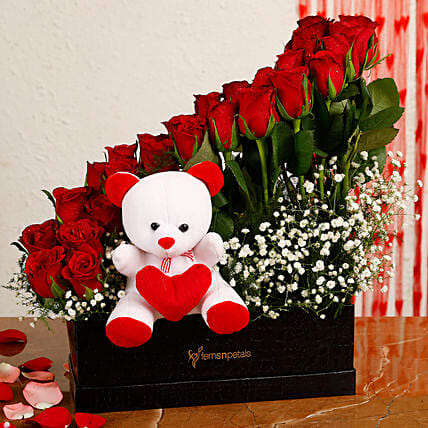 Red Roses Arrangement In Black FNP Box With Teddy