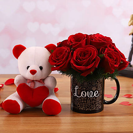 Red Roses Arrangement In Love Printed Mug and Cute Teddy