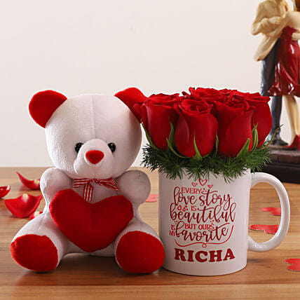Red Roses Arrangement In Personalised Mug and Cute Teddy