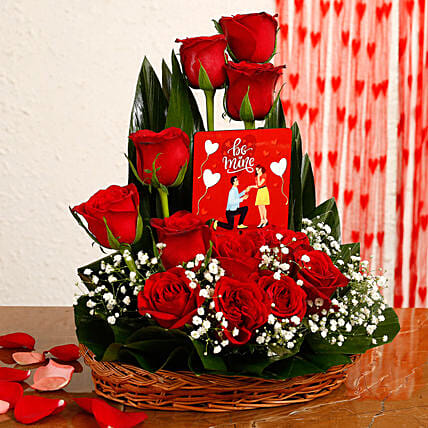 Red Roses Arrangement With Be Mine Table Top:Flower Arrangements