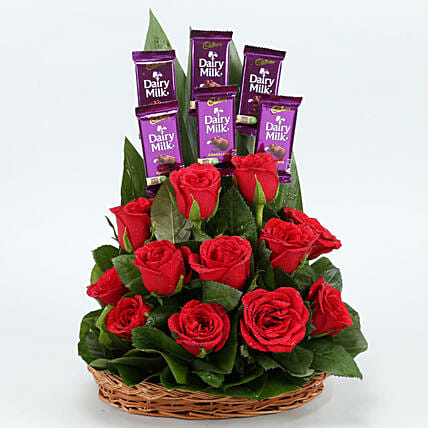 flowers chocolate arrangement for anniversary:Flower Basket Arrangements