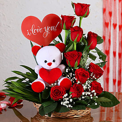flowers n teddy arrangement for anniversary online:Soft Toy