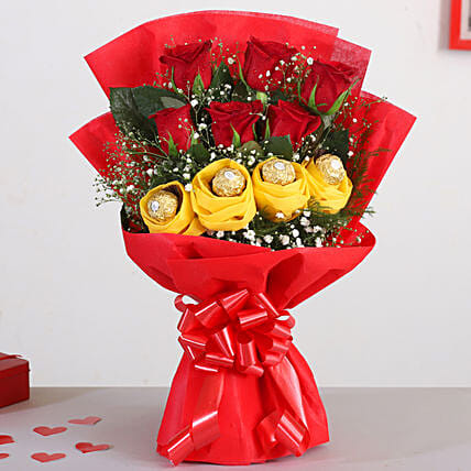 Red Roses Bouquet Ferrero Rocher Chocolates:Flowers And Chocolate Delivery