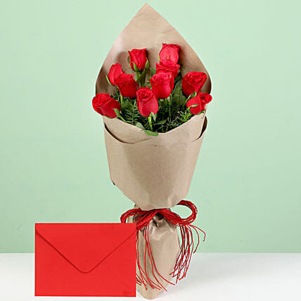 Flower with Paper Wrap and Greeting Online:Flower Bouquet and Card Delivery