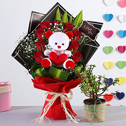Red Roses Bouquet With Jade Plant Teddy
