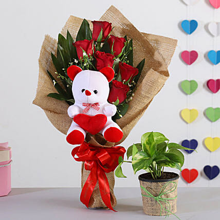 Red Roses Bouquet With Money Plant Teddy:Send Flowers N Plants