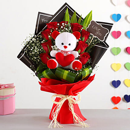 Red Roses Bunch Teddy Bear Combo