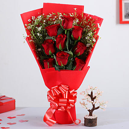 Red Roses Bunch With Rose Quartz Wish Tree:Valentines Day Gifts