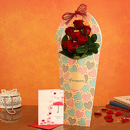Red Roses In FNP Heart Sleeve and Love Umbrella Card:Send Flowers And Card