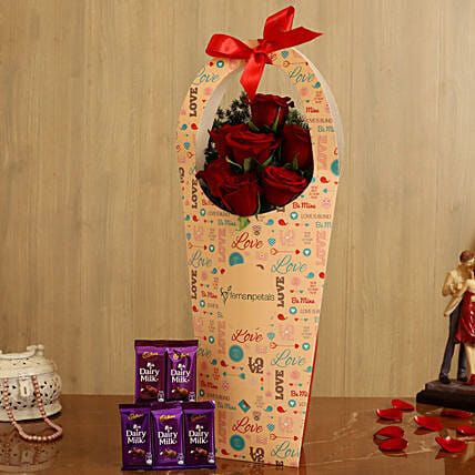 Red Roses In FNP Love Sleeve and Cadbury Dairy Milk