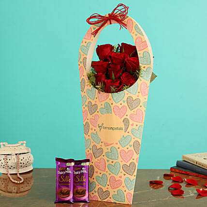Red Roses In FNP Love Sleeve and Cadbury Silk