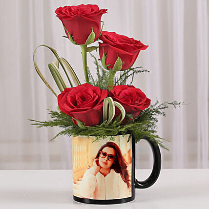Lovely rose in photo coffee mug:Flowers N Personalised Gifts