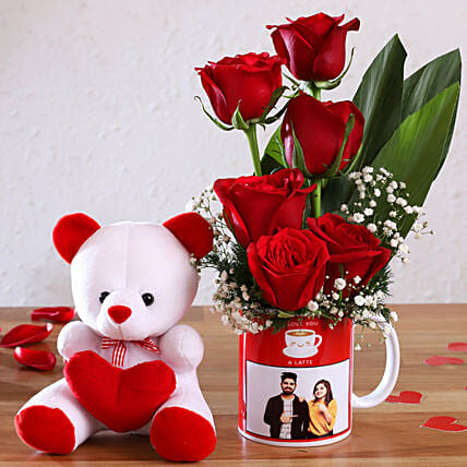 Red Roses In Personalised Couple Photo Mug and Cute Teddy:Flowers N Personalised Gifts