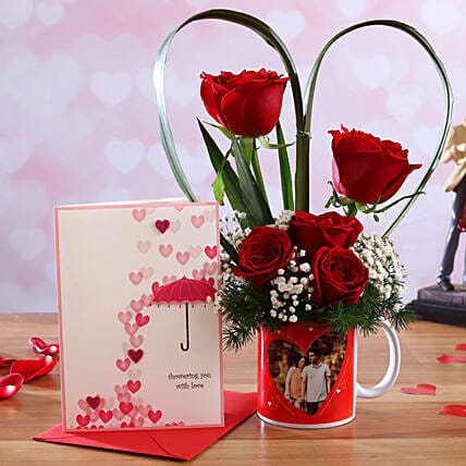 Red Roses In Personalised Cute Mug and Love Umbrella Card