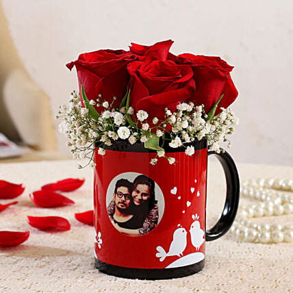 Red Roses In Personalised Love Birds Mug