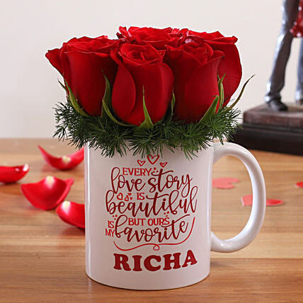 Red Roses In Personalised Love Story Mug:Flowers N Personalised Gifts