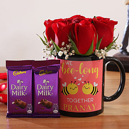 Red Roses In Personalised Mug and Cadbury Dairy Milk