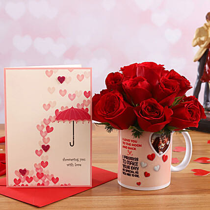 Red Roses In Personalised V Day Mug and Love Umbrella Card