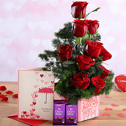 Red Roses In Sticker Vase and Love Card with Cadbury Dairy Milk:Flower Bouquet and Card Delivery