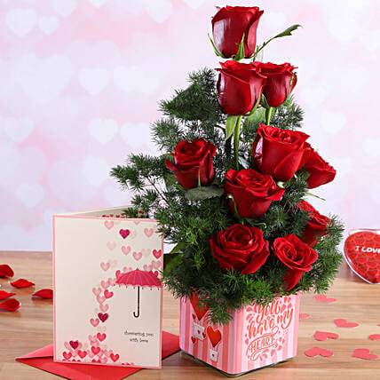 Red Roses In Sticker Vase and Love Umbrella Card:Flower Combos