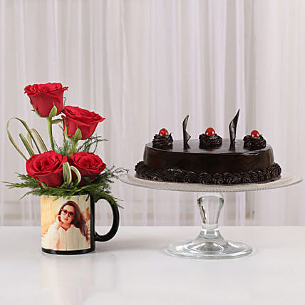 Triple combo of rose coffee mug or cake
