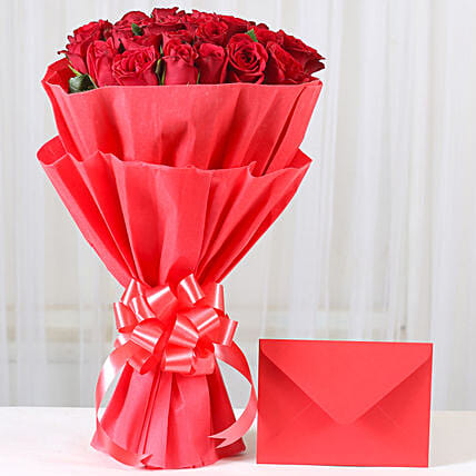 Red Roses N Greeting card - Bunch of 25 Red Roses with greeting card. gifts:Send Flowers And Card