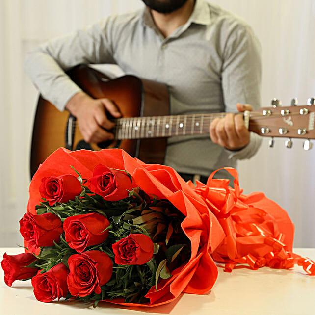Online Romantic Tunes Combo:Flowers & Guitarist Service