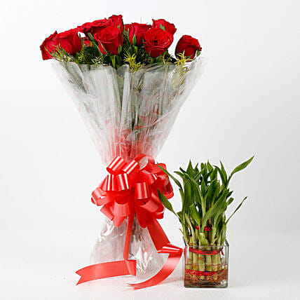 elegant rose bouquet with lucky bamboo