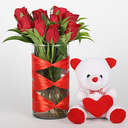 Elegant roses in vase with teddy bear for her:Flowers & Teddy Bears