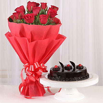 Red Rose - Bouquet of 10 red roses and 500 grams of truffle gifts:Anniversary Gifts to Mumbai