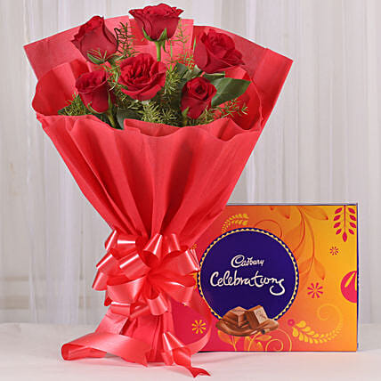 Red Sensation - Bunch of 6 Red Roses with Cadbury Celebration  box.:Rose Combos