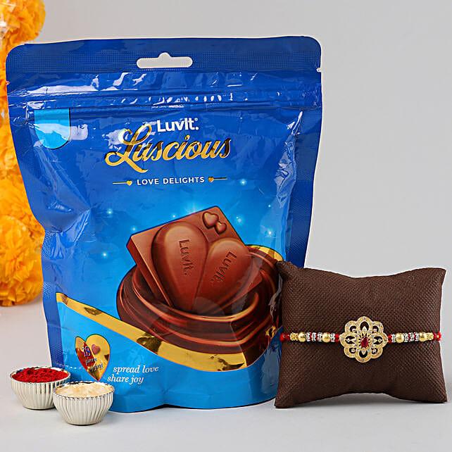 Red Stone Rakhi & Luscious Chocolates:Luvit Chocolates