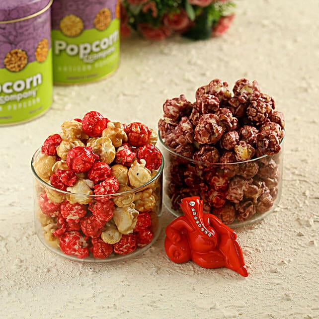 Red Velvet & Blueberry Popcorn With Ganesha Idol