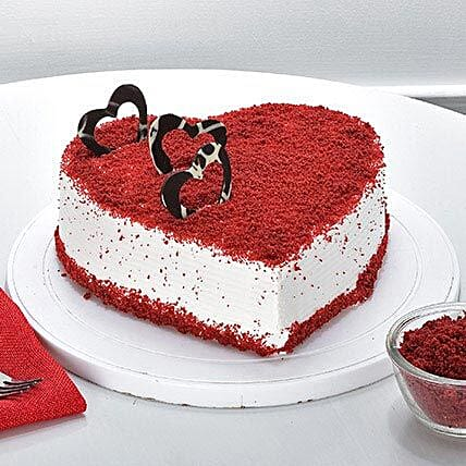 Red Velvet Heart Cake half kg:Send Heart Shaped Cakes to Delhi