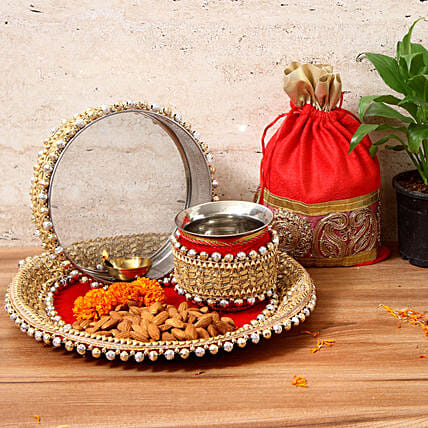 pooja thali with dry fruit