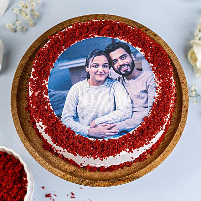 Red Velvet Photo Cake 3kg Eggless