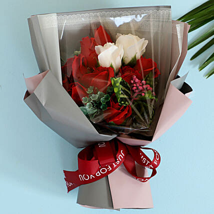 Red & White Artificial Flower Bouquet