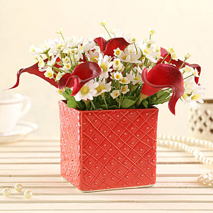 online Red & White Artificial Flowers